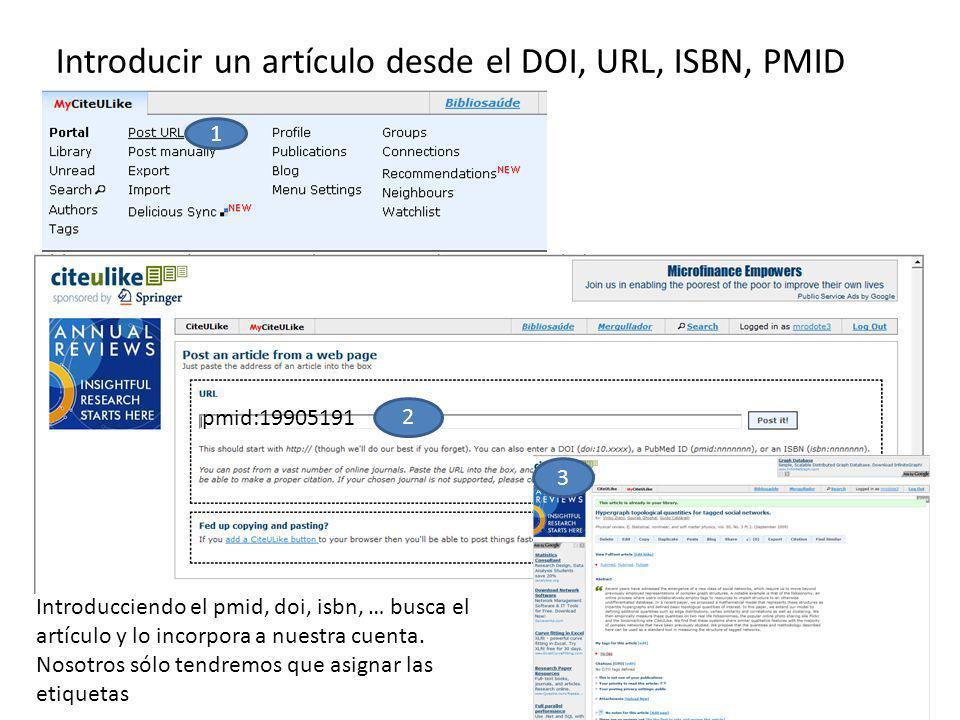 Introducir un artículo desde el DOI, URL, ISBN, PMID