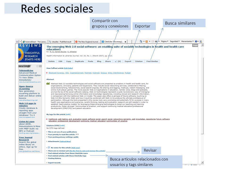 Redes sociales Busca similares Compartir con grupos y conexiones
