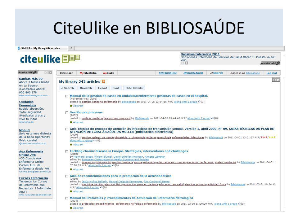 CiteUlike en BIBLIOSAÚDE