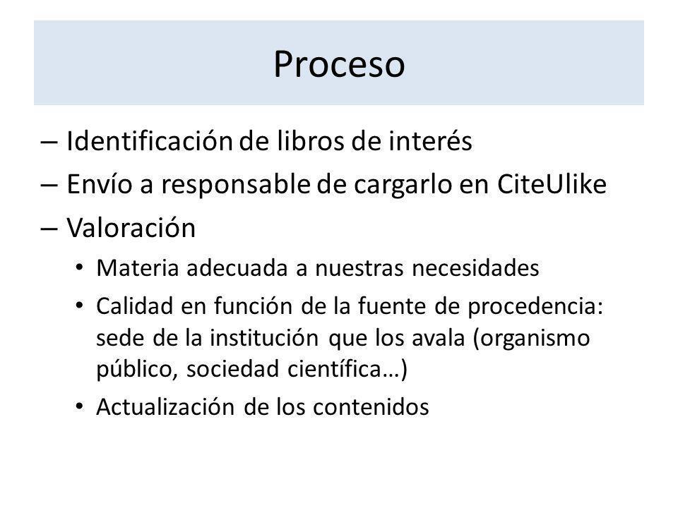 Proceso Identificación de libros de interés