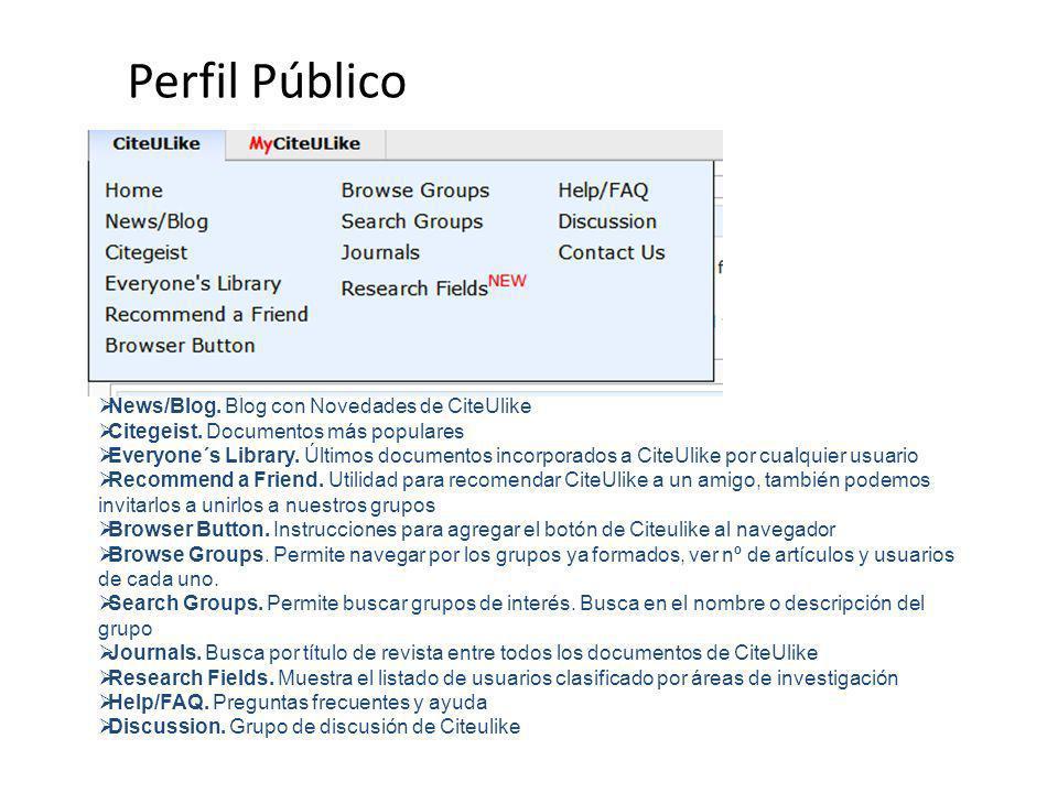 Perfil Público News/Blog. Blog con Novedades de CiteUlike