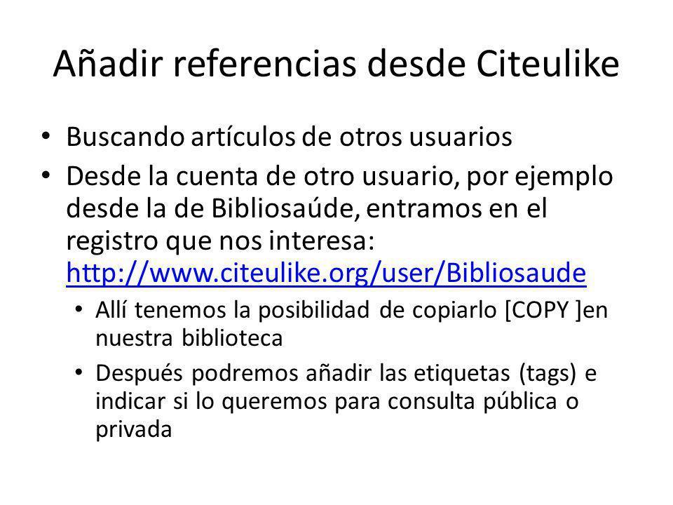Añadir referencias desde Citeulike