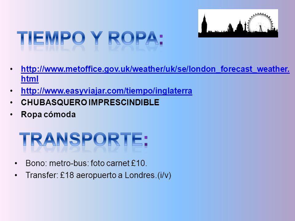 Tiempo y ropa: transporte: