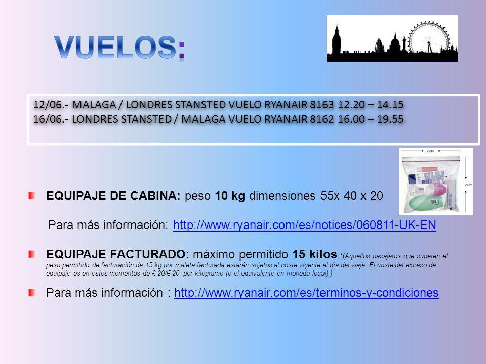 VUELOS: 12/06.- MALAGA / LONDRES STANSTED VUELO RYANAIR 8163 12.20 – 14.15. 16/06.- LONDRES STANSTED / MALAGA VUELO RYANAIR 8162 16.00 – 19.55.