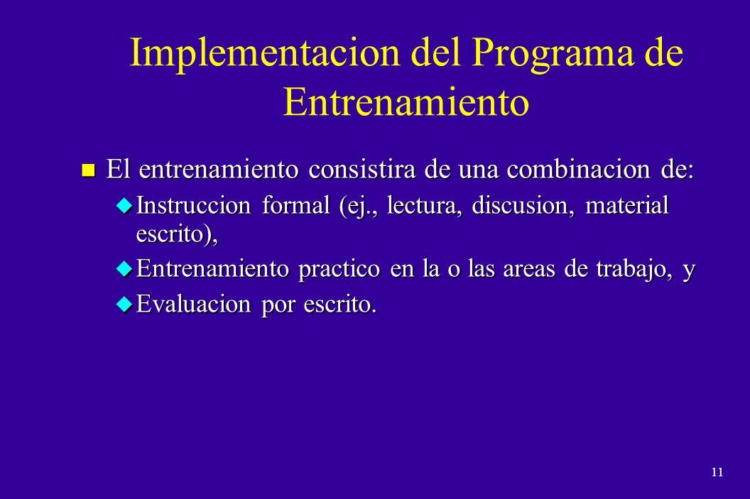 Implementacion del Programa de Entrenamiento