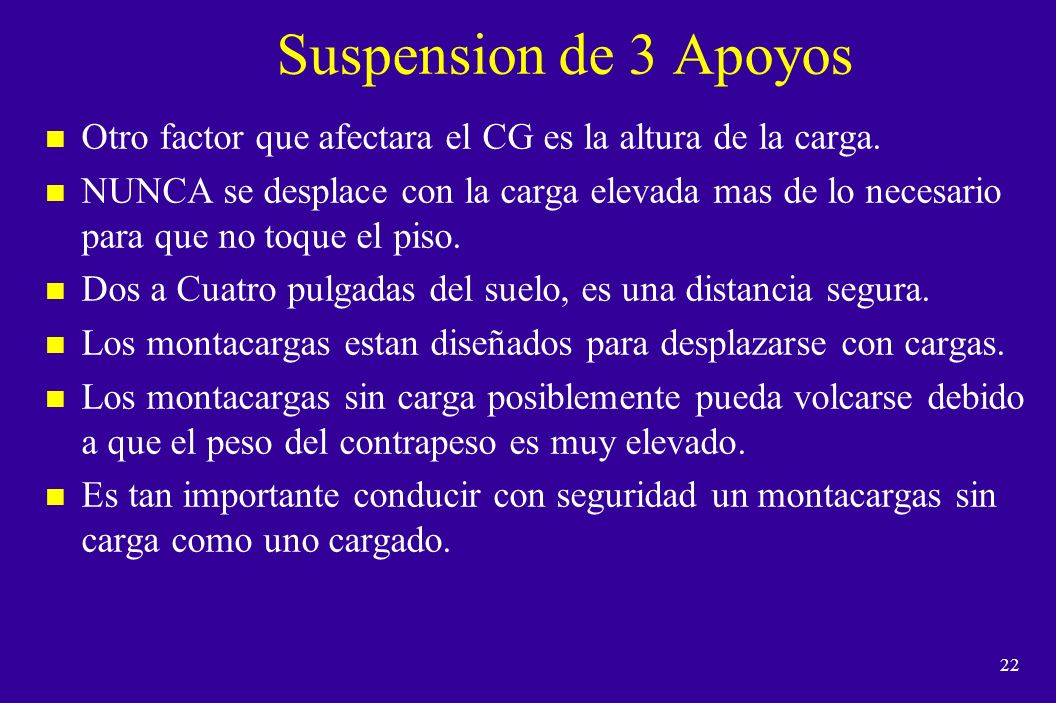 Suspension de 3 Apoyos Otro factor que afectara el CG es la altura de la carga.