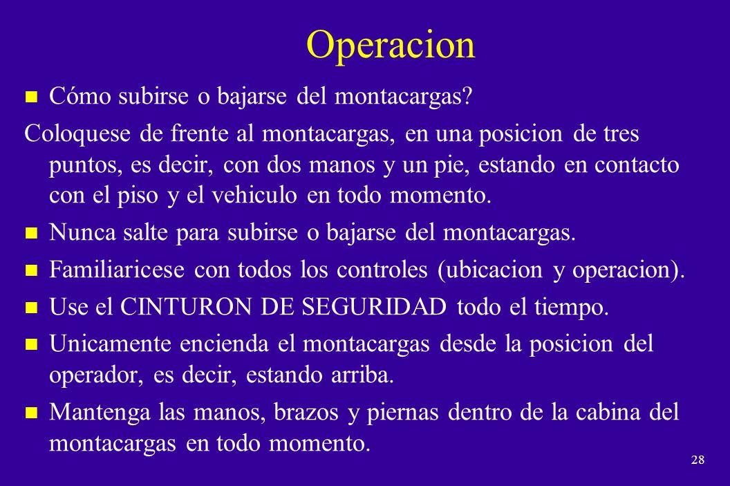 Operacion Cómo subirse o bajarse del montacargas