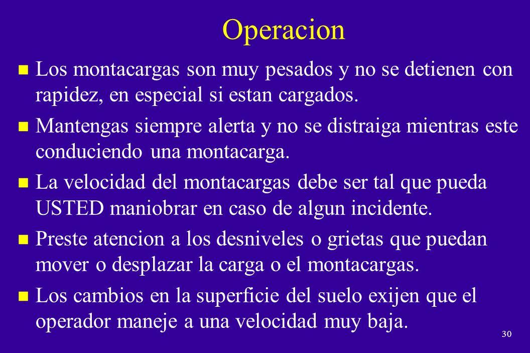 Operacion Los montacargas son muy pesados y no se detienen con rapidez, en especial si estan cargados.