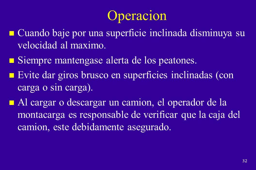 Operacion Cuando baje por una superficie inclinada disminuya su velocidad al maximo. Siempre mantengase alerta de los peatones.