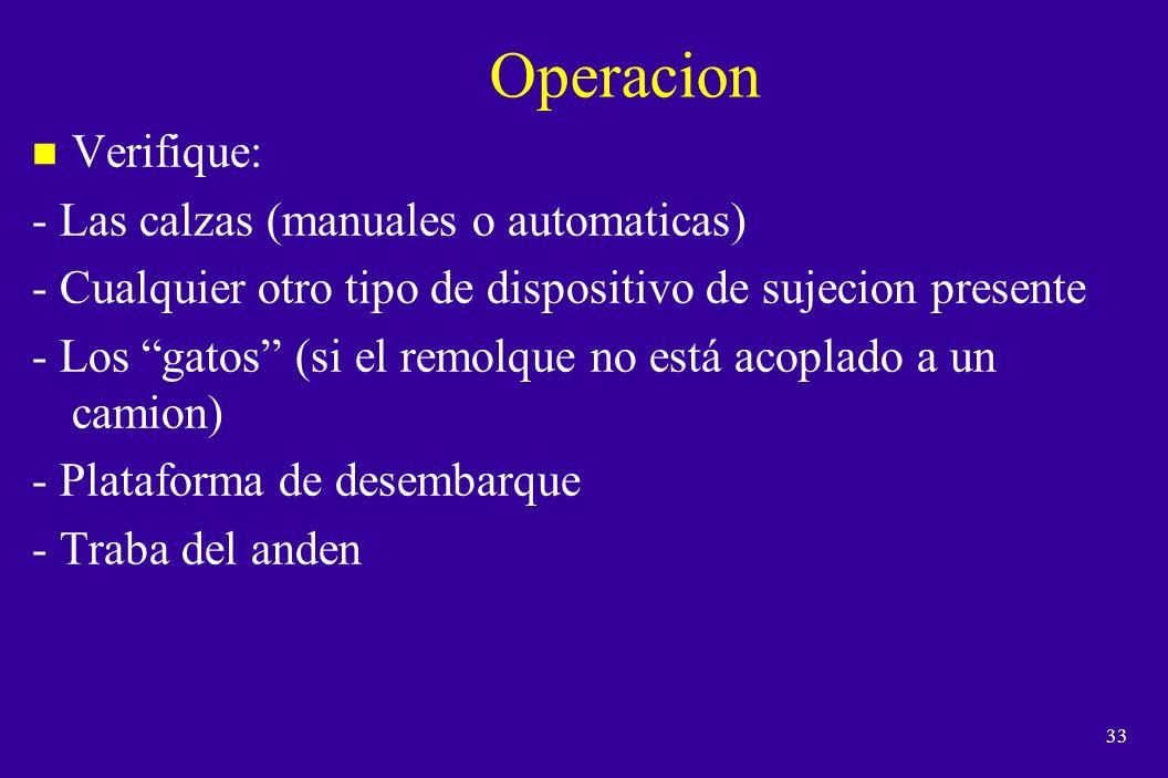 Operacion Verifique: - Las calzas (manuales o automaticas)