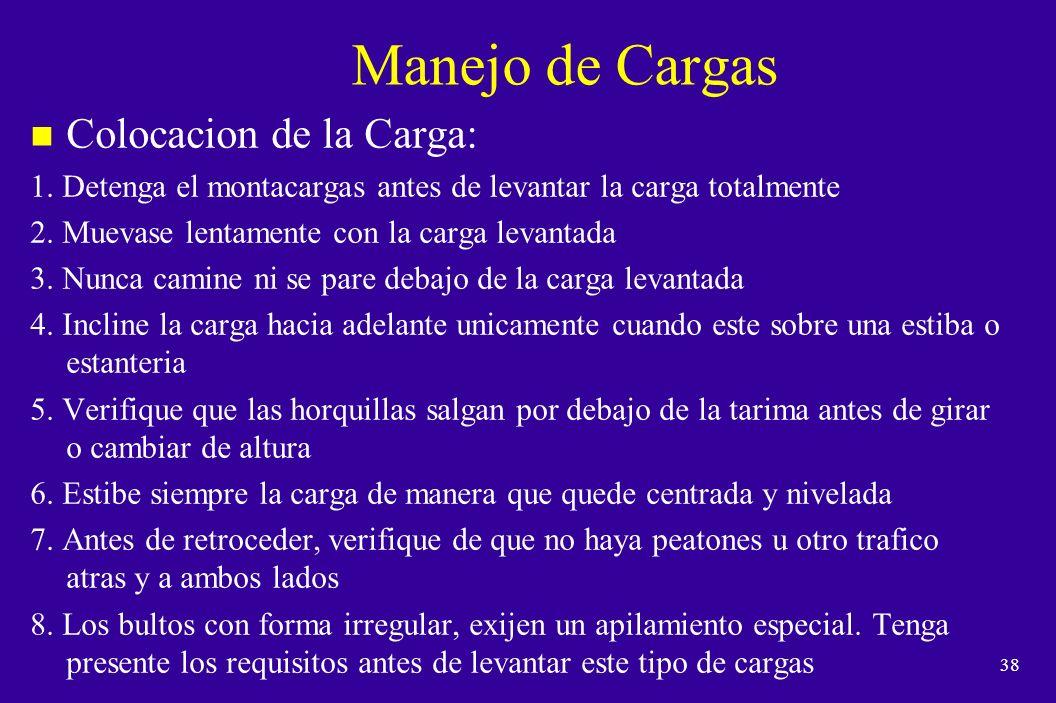 Manejo de Cargas Colocacion de la Carga: