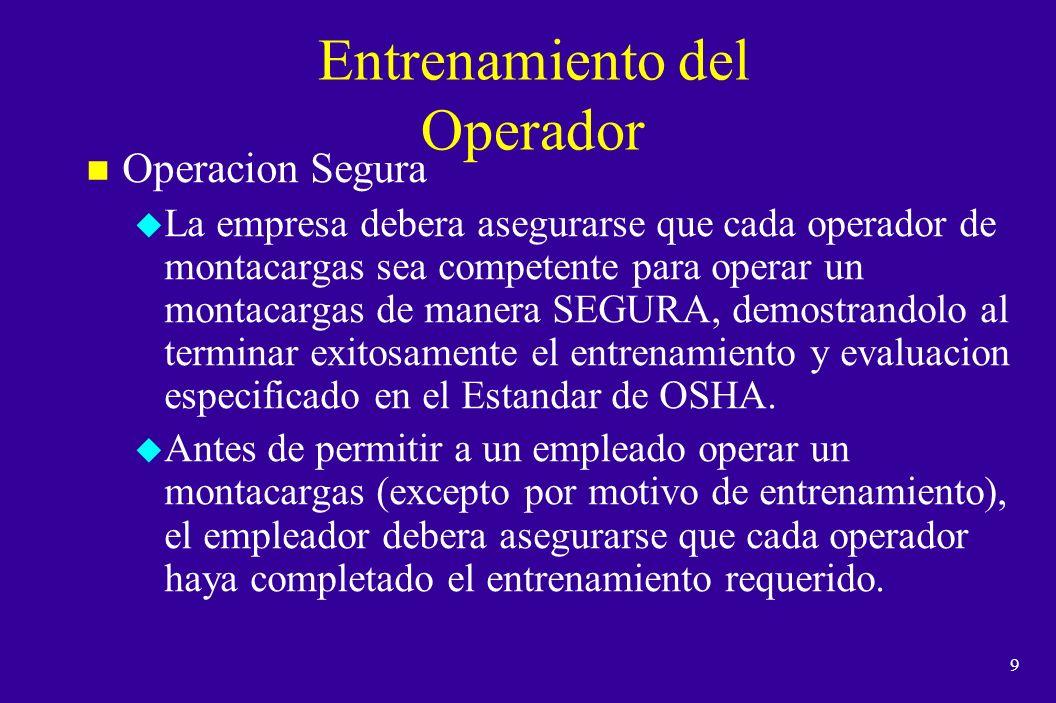 Entrenamiento del Operador