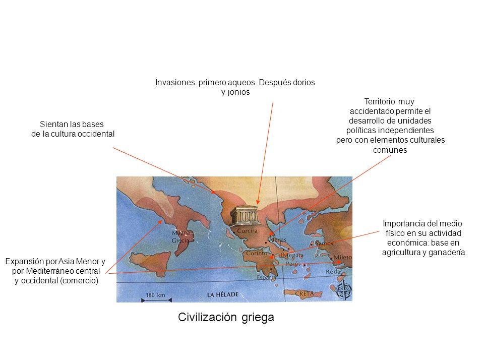 Civilización griega Invasiones: primero aqueos. Después dorios