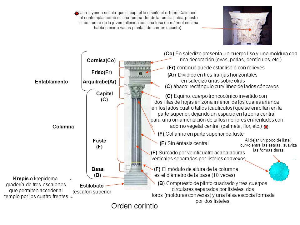 Una leyenda señala que el capitel lo diseñó el orfebre Calímaco