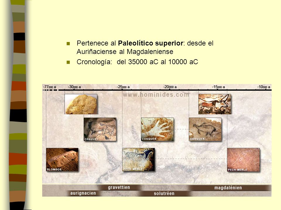 Pertenece al Paleolítico superior: desde el Auriñaciense al Magdaleniense