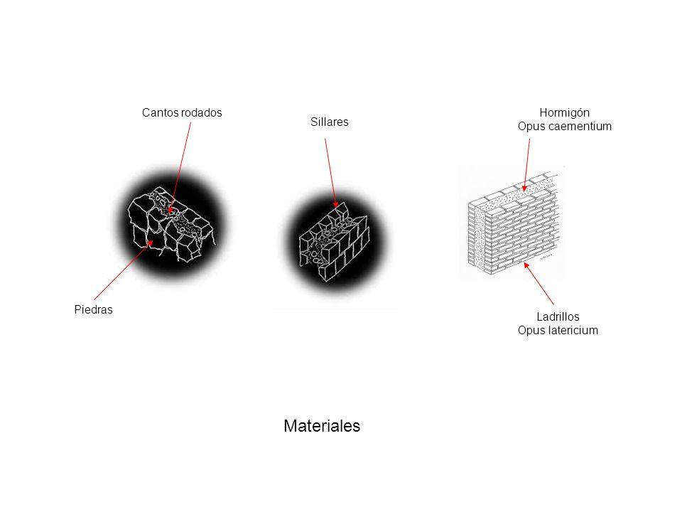 Materiales Cantos rodados Hormigón Opus caementium Sillares Piedras