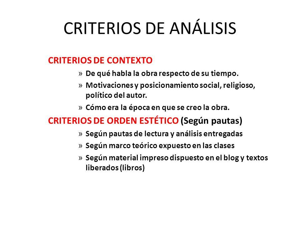 CRITERIOS DE ANÁLISIS CRITERIOS DE CONTEXTO