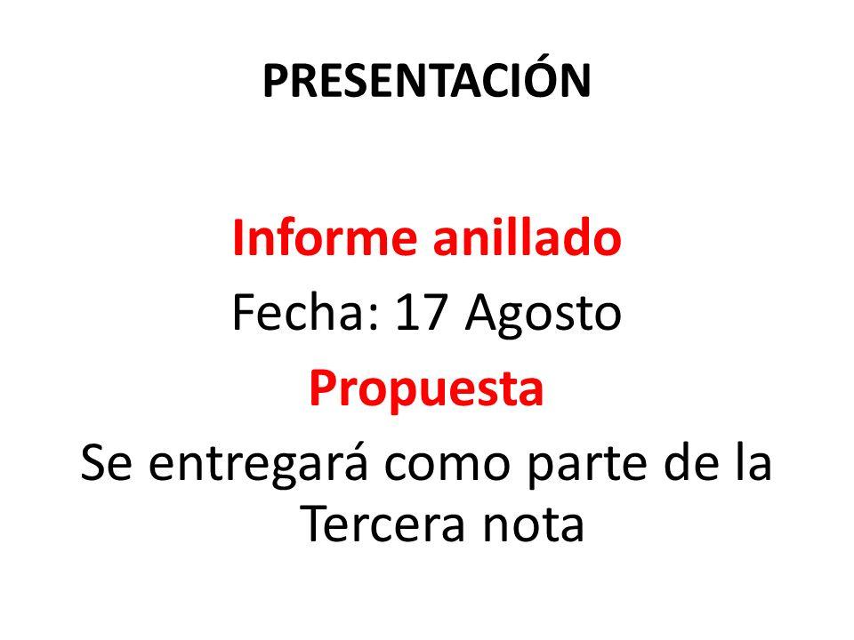 PRESENTACIÓN Informe anillado Fecha: 17 Agosto Propuesta Se entregará como parte de la Tercera nota