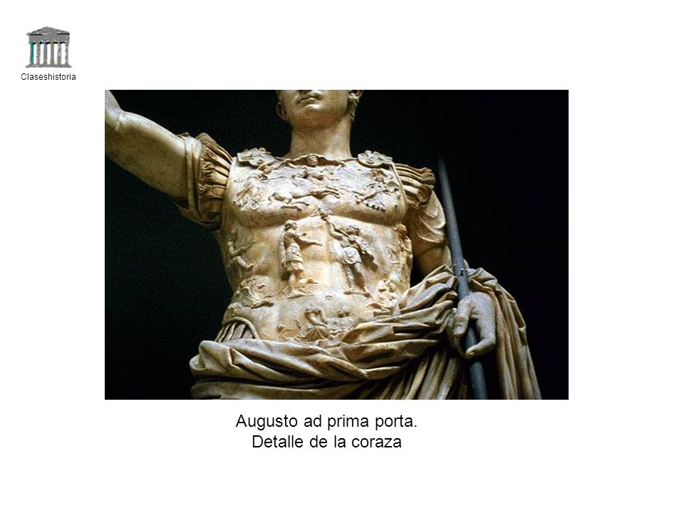 Claseshistoria Augusto ad prima porta. Detalle de la coraza