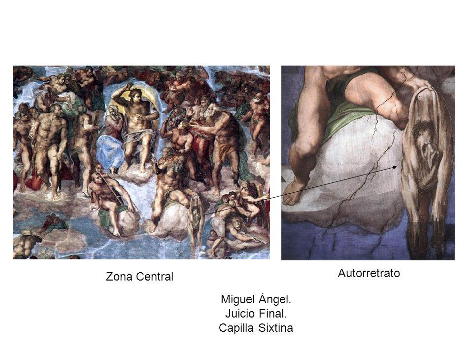 Autorretrato Zona Central Miguel Ángel. Juicio Final. Capilla Sixtina