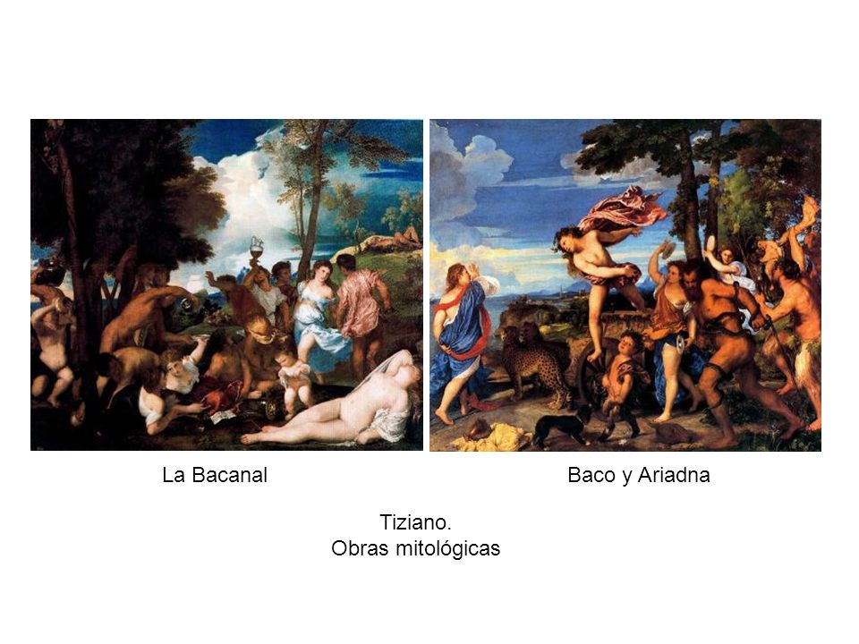 La Bacanal Baco y Ariadna Tiziano. Obras mitológicas