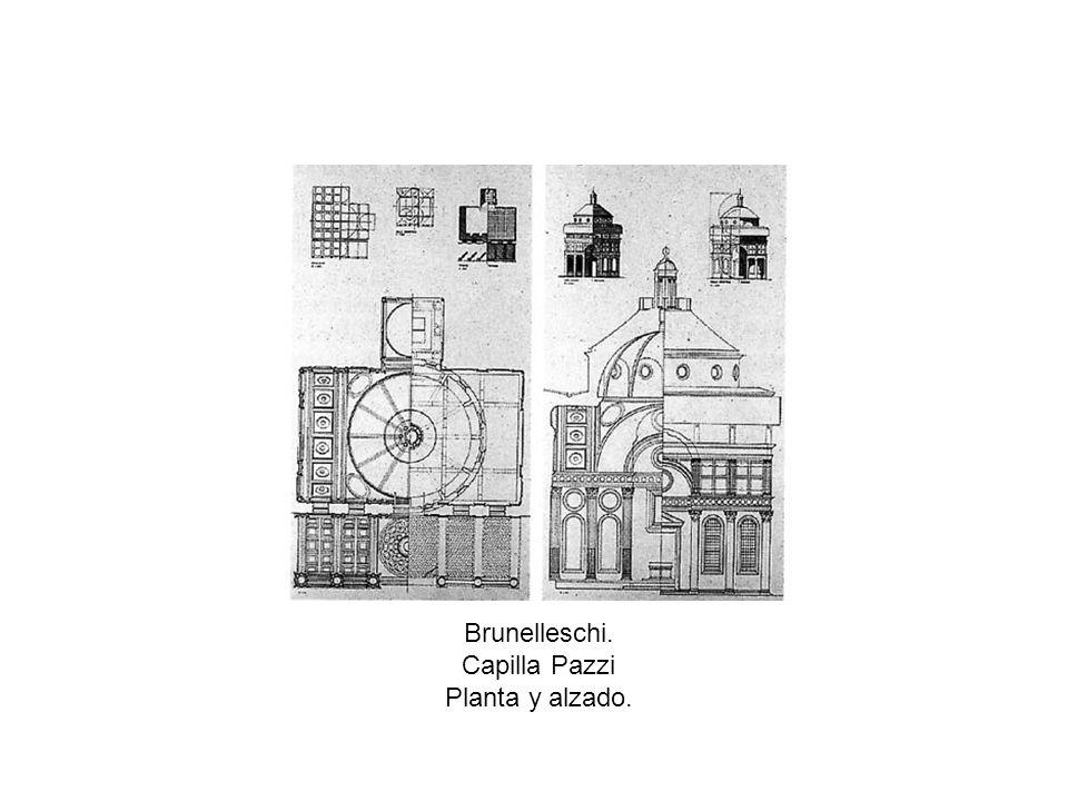 Brunelleschi. Capilla Pazzi Planta y alzado.