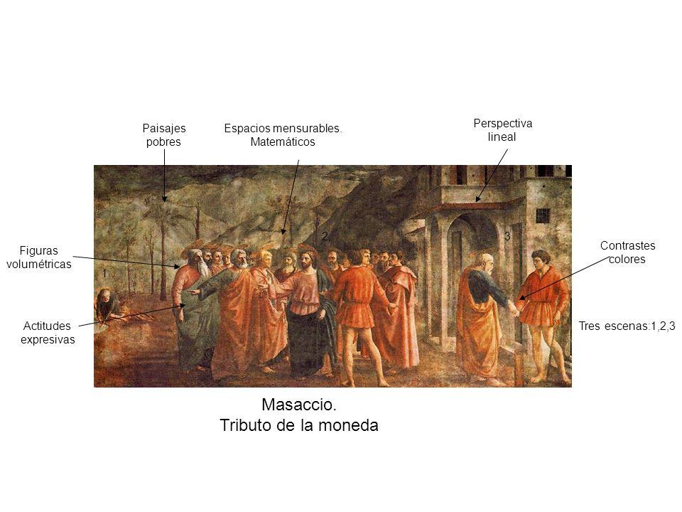 Masaccio. Tributo de la moneda Perspectiva lineal Paisajes pobres