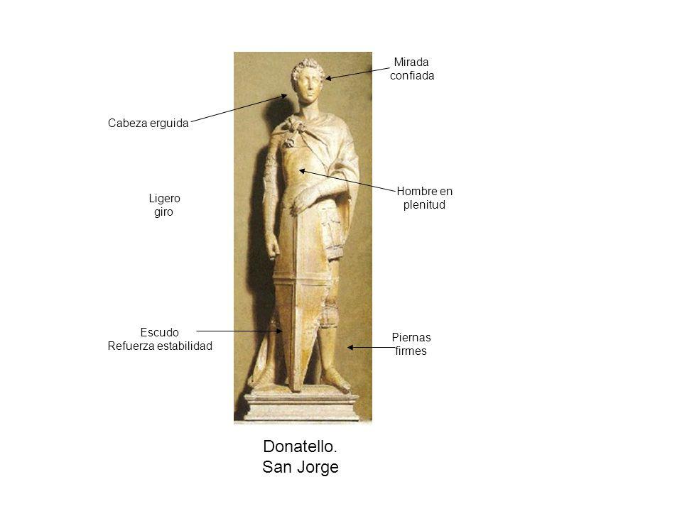 Donatello. San Jorge Mirada confiada Cabeza erguida Hombre en Ligero
