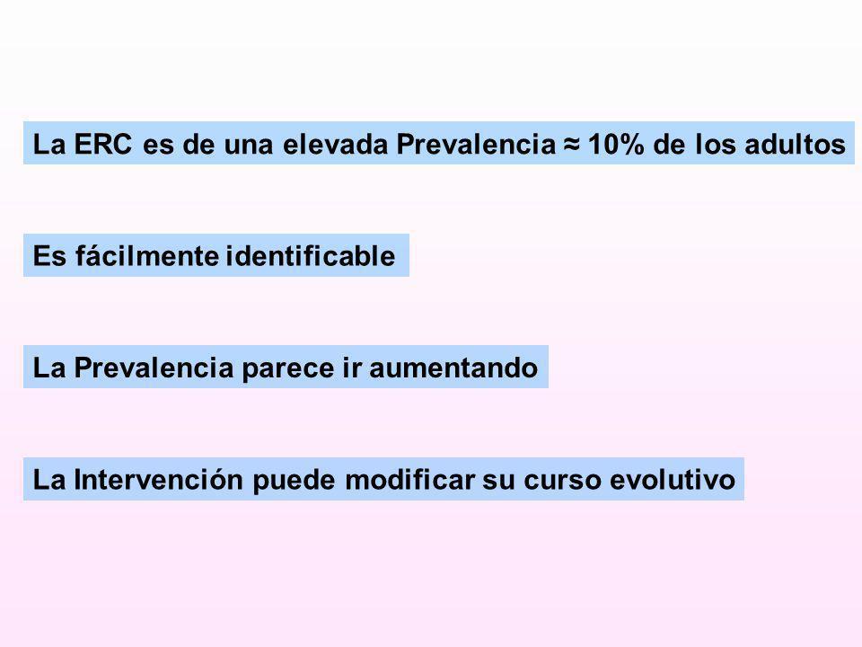 La ERC es de una elevada Prevalencia ≈ 10% de los adultos