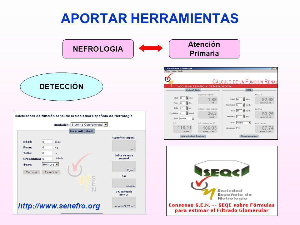 APORTAR HERRAMIENTAS Atención NEFROLOGIA Primaria DETECCIÓN