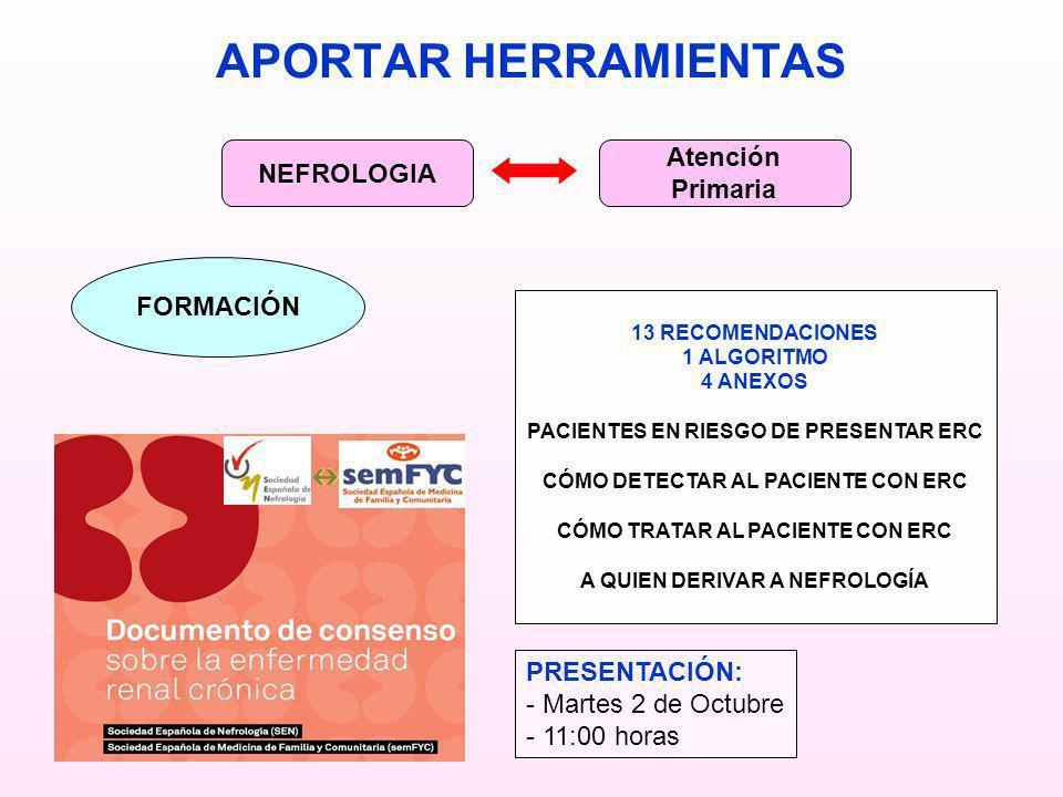 APORTAR HERRAMIENTAS Atención NEFROLOGIA Primaria FORMACIÓN