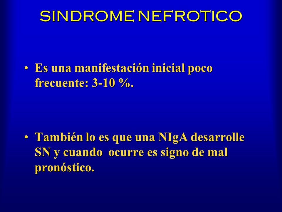 SINDROME NEFROTICO Es una manifestación inicial poco frecuente: 3-10 %.