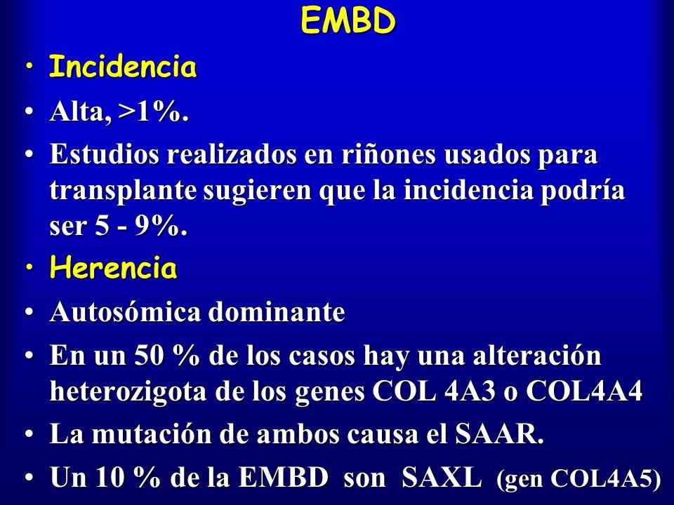 EMBD Incidencia Alta, >1%.