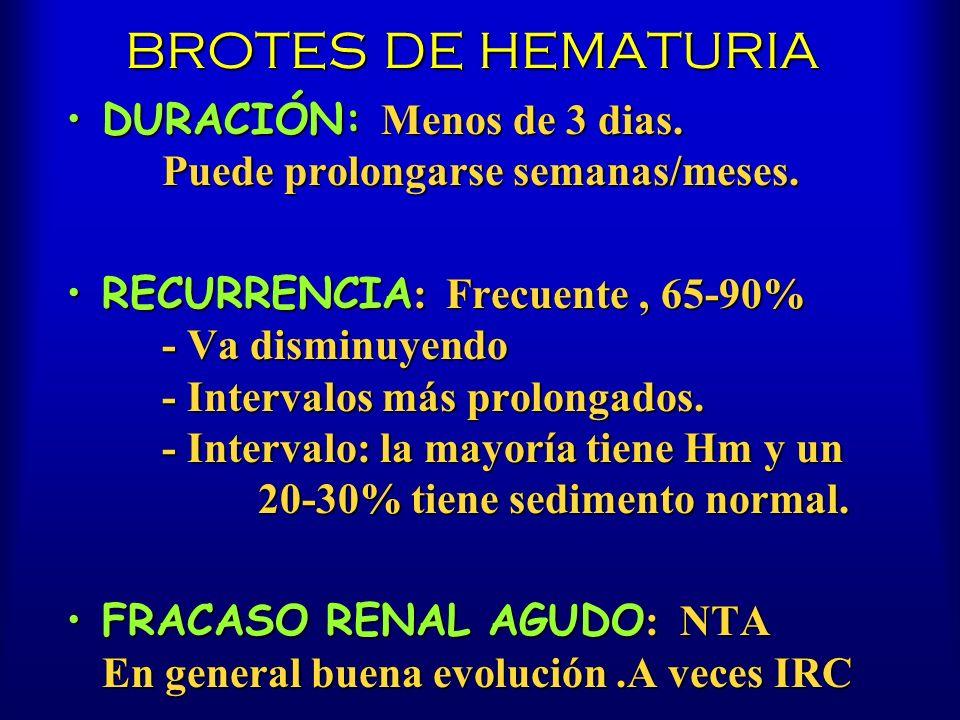 BROTES DE HEMATURIA DURACIÓN: Menos de 3 dias. Puede prolongarse semanas/meses.