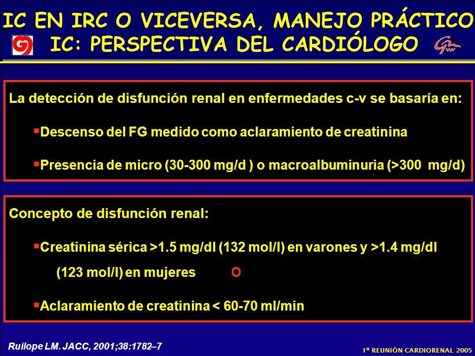 La detección de disfunción renal en enfermedades c-v se basaría en: