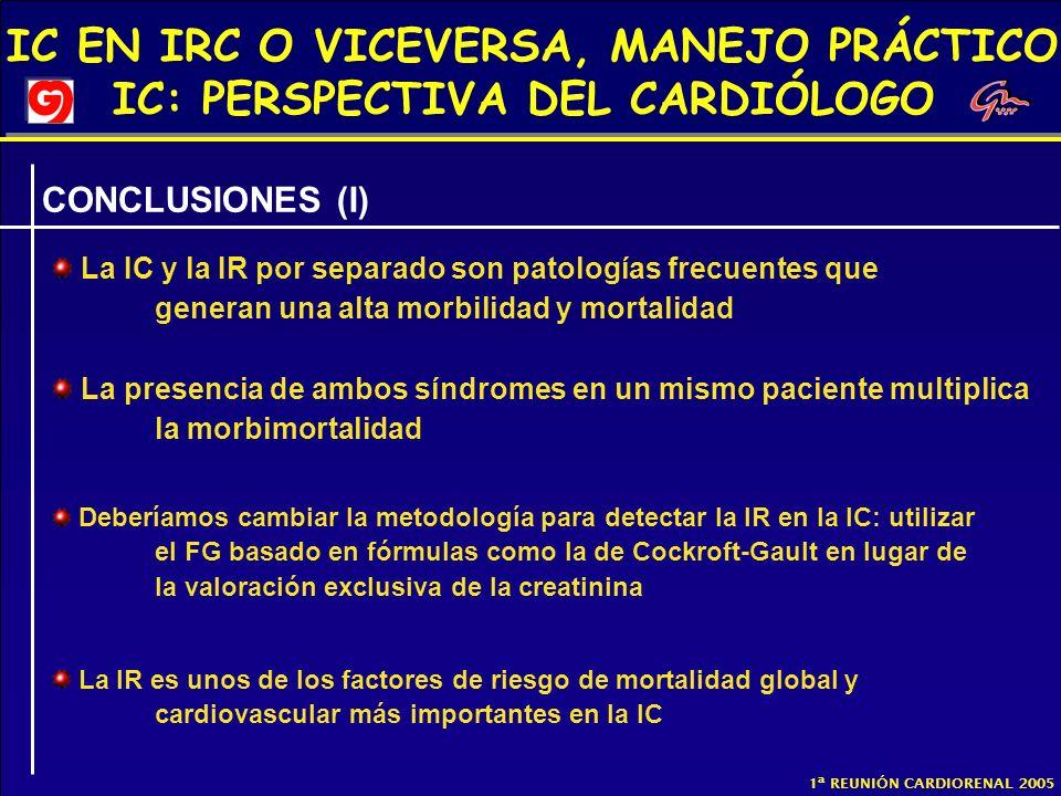 CONCLUSIONES (I) La IC y la IR por separado son patologías frecuentes que generan una alta morbilidad y mortalidad.