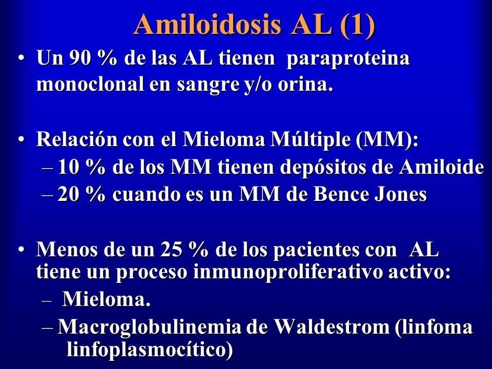Amiloidosis AL (1) Un 90 % de las AL tienen paraproteina monoclonal en sangre y/o orina. Relación con el Mieloma Múltiple (MM):