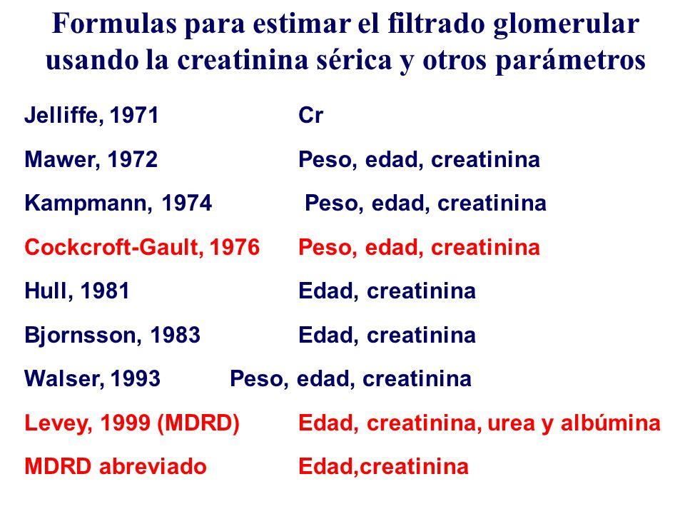 Formulas para estimar el filtrado glomerular usando la creatinina sérica y otros parámetros