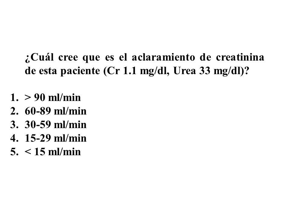 ¿Cuál cree que es el aclaramiento de creatinina de esta paciente (Cr 1