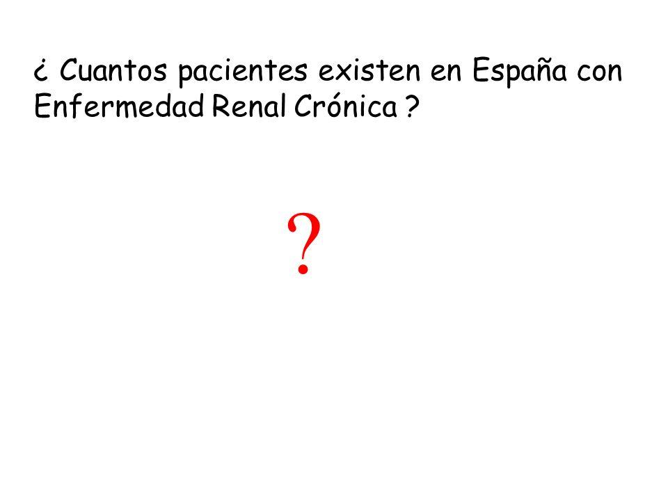 ¿ Cuantos pacientes existen en España con Enfermedad Renal Crónica