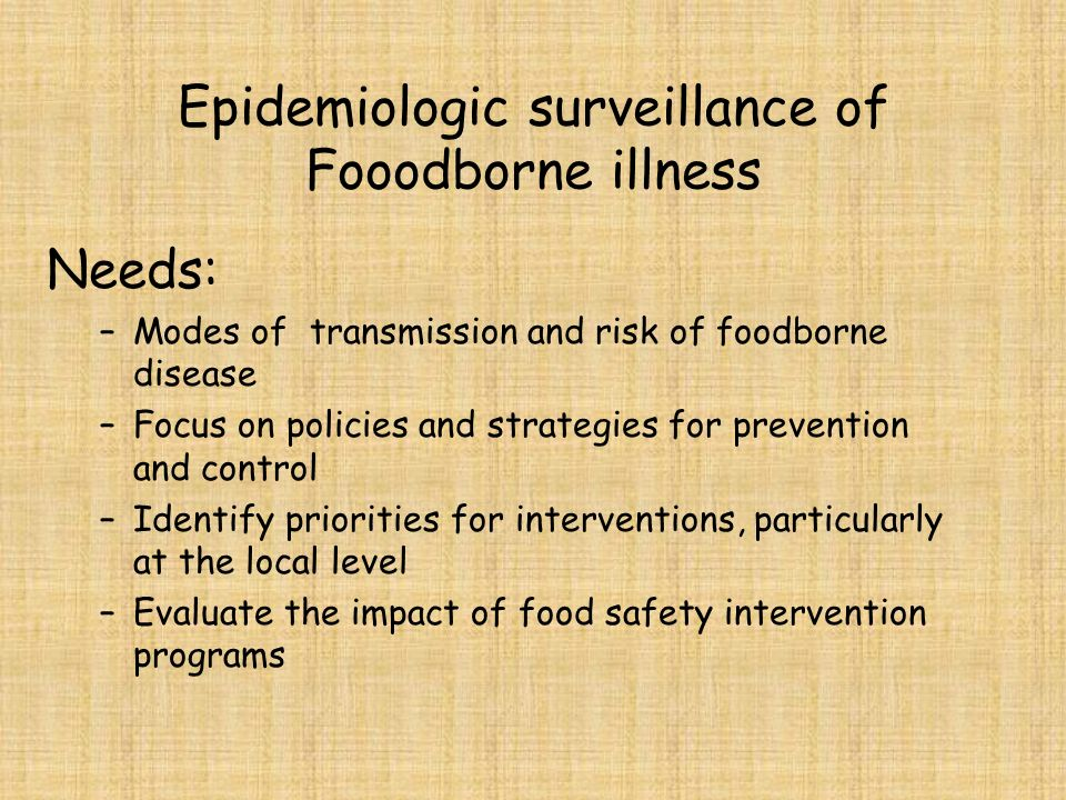 Epidemiologic surveillance of Fooodborne illness