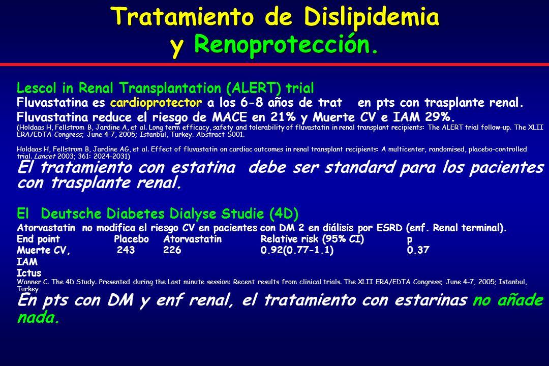 Tratamiento de Dislipidemia y Renoprotección.