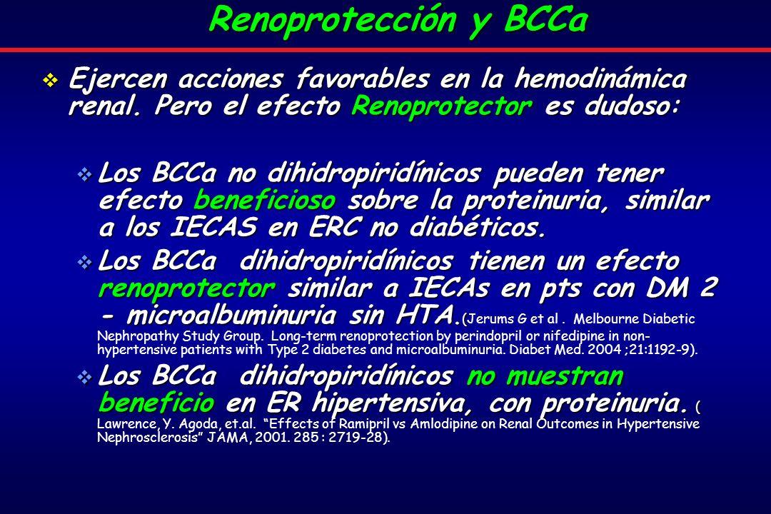 Renoprotección y BCCa Ejercen acciones favorables en la hemodinámica renal. Pero el efecto Renoprotector es dudoso: