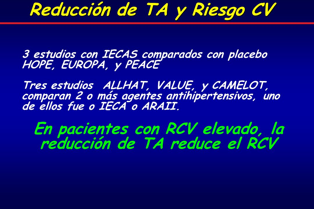 En pacientes con RCV elevado, la reducción de TA reduce el RCV