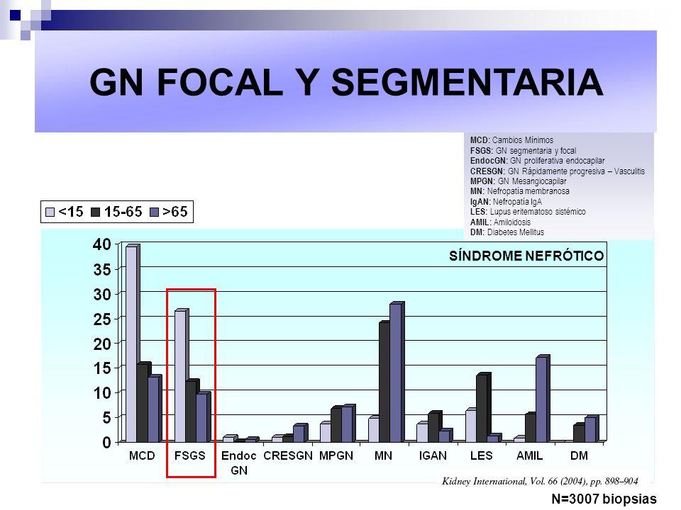 GN FOCAL Y SEGMENTARIA SÍNDROME NEFRÓTICO N=3007 biopsias