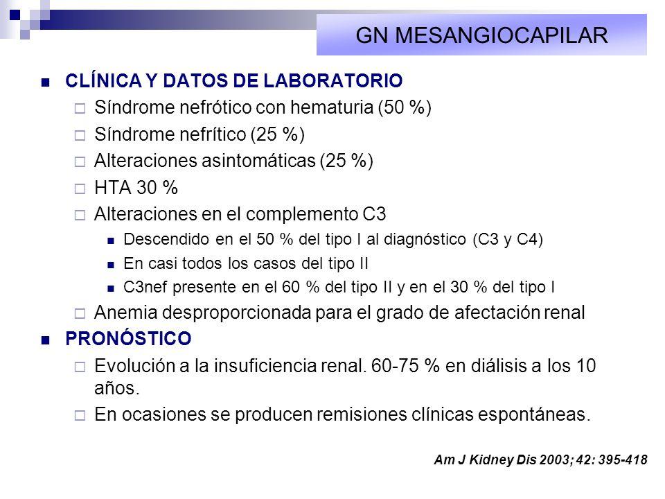 GN MESANGIOCAPILAR CLÍNICA Y DATOS DE LABORATORIO