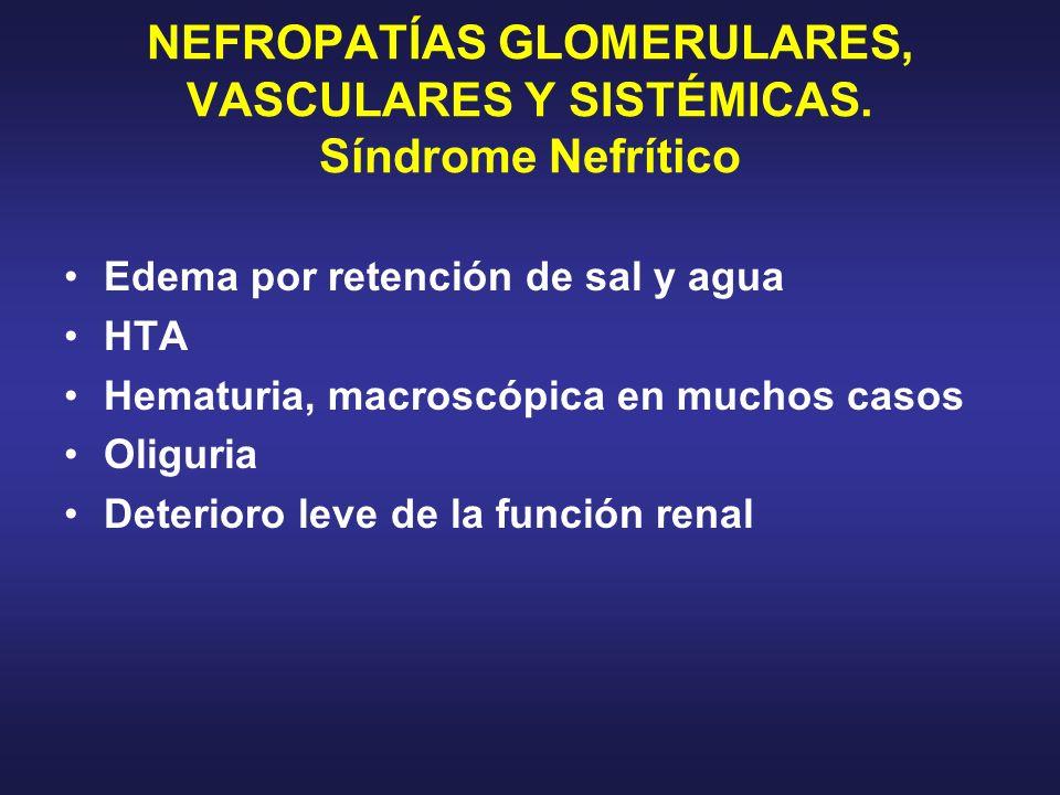 NEFROPATÍAS GLOMERULARES, VASCULARES Y SISTÉMICAS. Síndrome Nefrítico