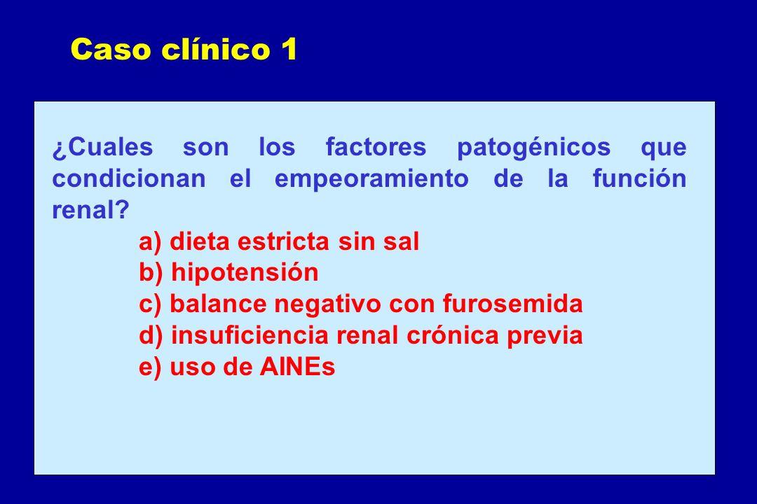 Caso clínico 1 ¿Cuales son los factores patogénicos que condicionan el empeoramiento de la función renal