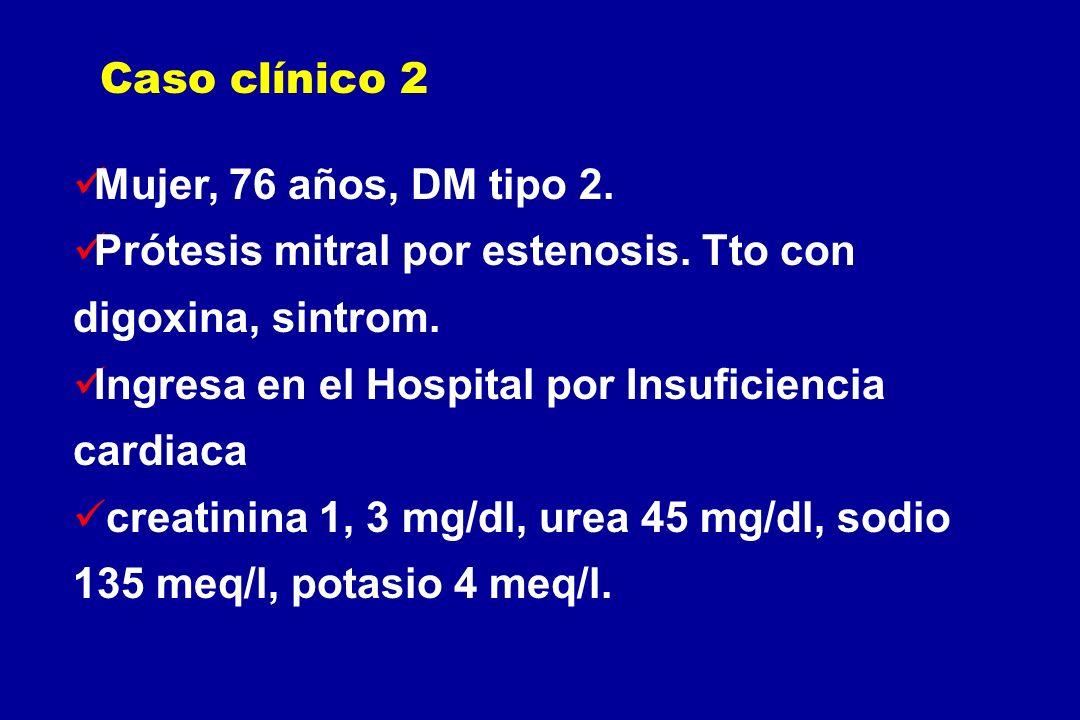 Caso clínico 2Mujer, 76 años, DM tipo 2. Prótesis mitral por estenosis. Tto con digoxina, sintrom.