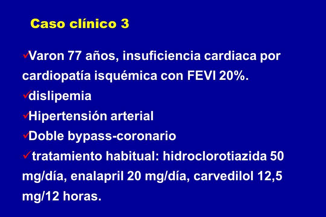 Caso clínico 3Varon 77 años, insuficiencia cardiaca por cardiopatía isquémica con FEVI 20%. dislipemia.